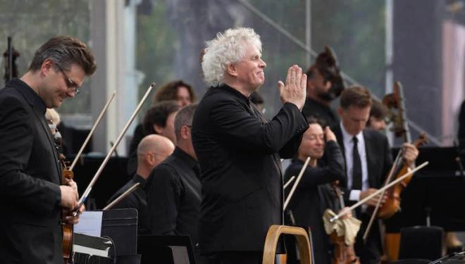 Sir Simon Rattle conducts the annual free Trafalgar Square concert