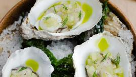Pickled oysters with horseradish, cucumber & dill at Cornerstone, photo credit Cedar Films