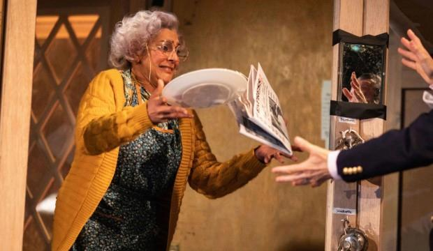 Meera Syal in Noises Off. Photo by Helen Maybanks