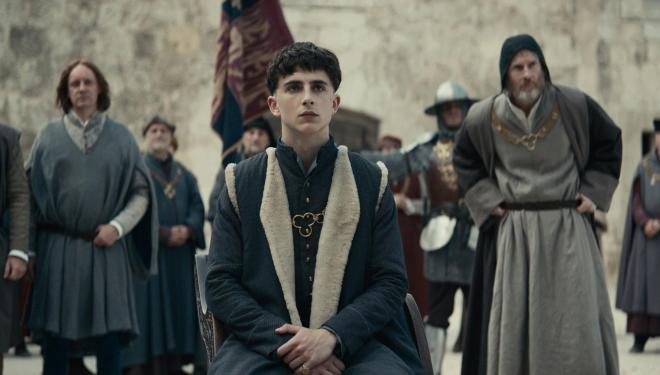 Timothée Chalamet wears the crown in Netflix's The King