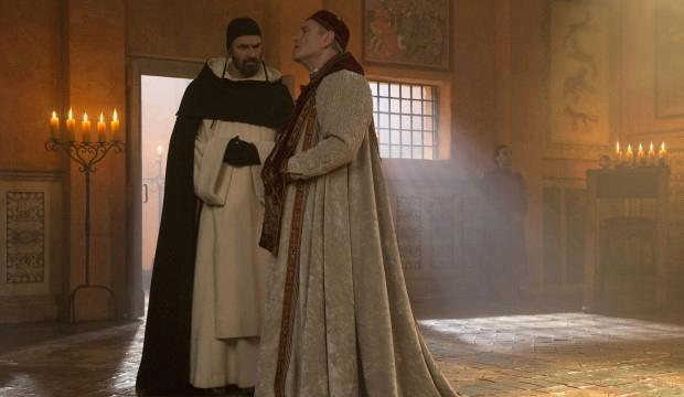 Pope John XXII (Tchéky Karyo) consults his Dominican Inquisitor Bernard Gui (Rupert Everett)