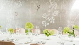 The new private dining room at Michelin starred Kitchen W8 with exquisite handpainted wallpaper