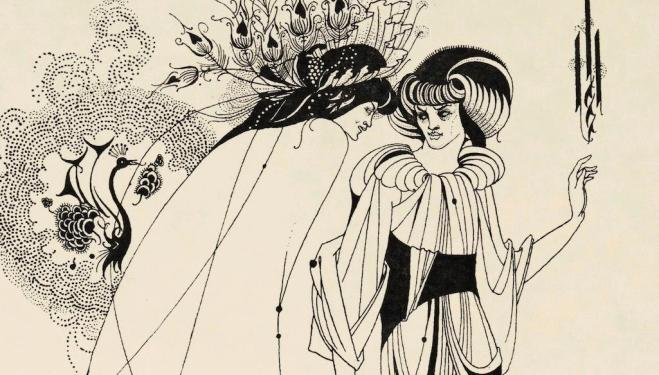 Illustration for Oscar Wilde's Salome 1893 The Peacock Skirt Line block print on paper Stephen Calloway Photo: © Tate