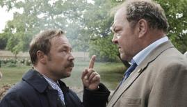 Stephen Graham and Mark Addy in White House Farm, ITV