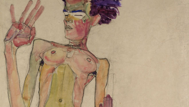 Egon Schiele (1890-1918) Kneeling Nude with Raised Hands  (Self-Portrait), 1910 Black chalk and gouache on paper 63 x 45 cm The Leopold Museum, Vienna, courtesy of The Courtauld Gallery