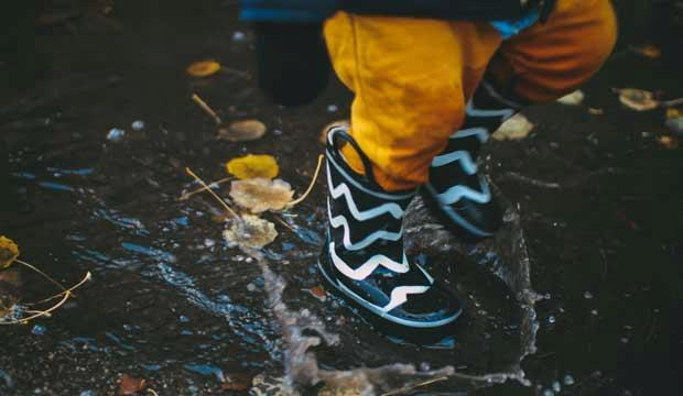 Kids' rainy day wardrobe essentials. Photo: Daiga Ellaby