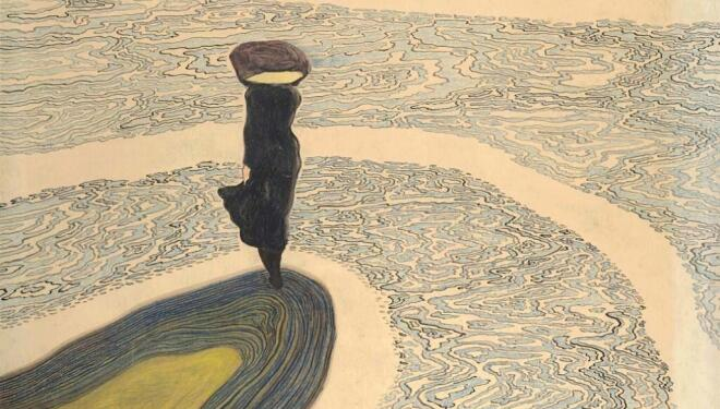 Woman at the Shoreline, 1910. Private collection. Photo: © Cedric Verhelst. Leon Spilliaert exhibition. Royal Academy