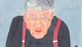 David Hockney, Self Portrait with Red Braces. Copyright David Hockney. Photo: Richard Schmidt, Collection: The David Hockney Foundation