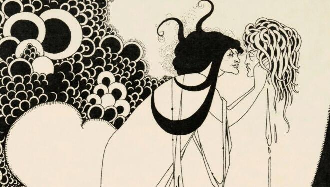 Aubrey Beardsley. Illustrations for Oscar Wilde's Salome 1893. The Climax Line block print on paper. Stephen Calloway Photo: © Tate