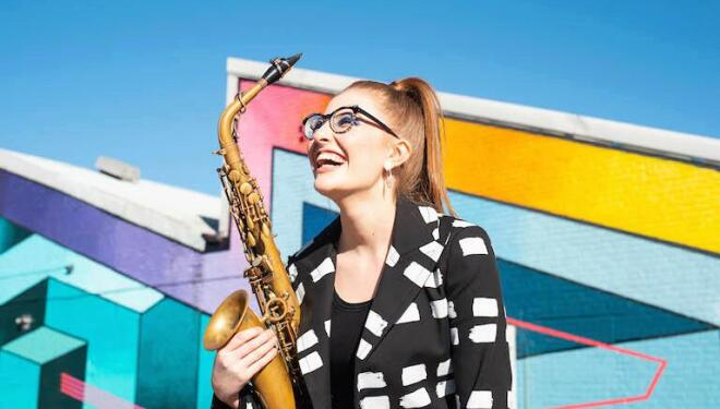 Saxophonist Jess Gillam has parts for everyone in her online band. Photo: Robin Clewley
