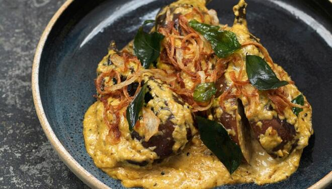 Will Bowlby's Hyderabad Baby Aubergine with Coconut & Curry Leaf Recipe