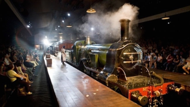 a beautiful 60-tonne locomotive that steams into the theatre to delight all ages