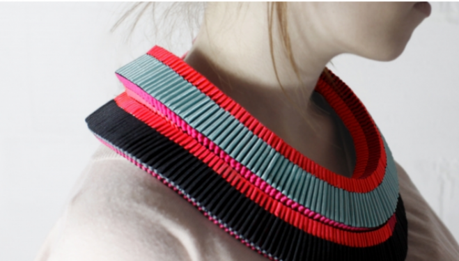 Emma Calvert's layered neon neckpieces, on sale at Dazzle, Oxo Tower