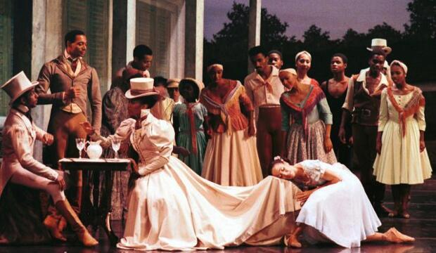 DTH Creole Giselle. Derek Williams as Alexandre de la Cour, Hugues Magen as Etienne de Villefort, Theara Ward as Bathilde de la Cour, Virginia Johnson as Giselle Lanaux and members of DTH.  Photo c/o Dance Theatre of Harlem