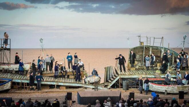 Benjamin Britten's Peter Grimes was performed on the beach at Aldeburgh, where the opera is set. Photo: Robert Workman
