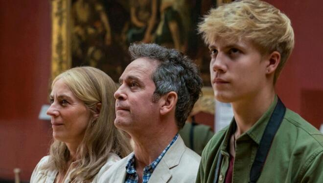 Saskia Reeves, Tom Hollander, and Tom Taylor in Us, BBC One. Photo: BBC