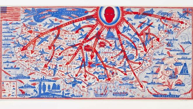 Grayson Perry CBE RA, The American Dream  Etching, 109.6 x 239.8 cm  Grayson Perry & Paragon | Contemporary Editions Ltd, London. Photo: Stephen White & Co