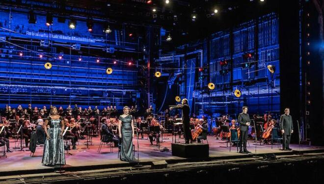 English National Opera on stage for Mozart's Requiem. Photo: Clive Barda