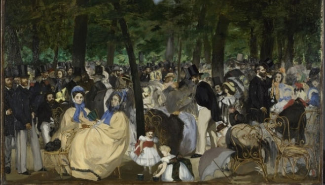 Music in the Tuileries Gardens Edouard Manet 1862, The National Gallery, London, Sir Hugh Lane Bequest, 1917