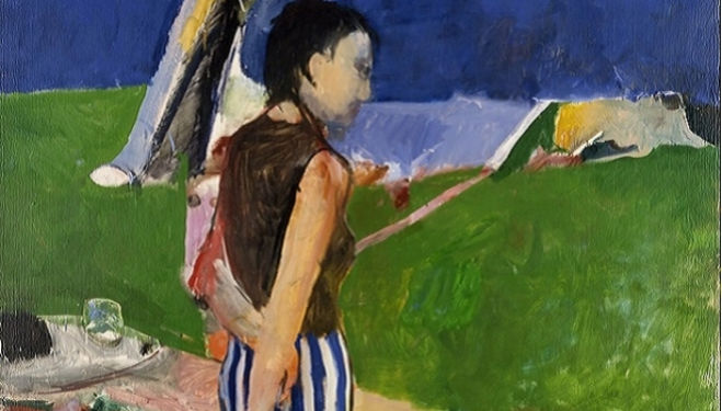 Richard Diebenkorn, Girl on a Terrace, 1956. Oil on canvas. 179.1 x 166.1 cm. Collection Neuberger Museum of Art, Purchase College, State of University of New York. Gift of Roy R. Neuberger, 1975.16.09. © 2014 The Richard Diebenkorn Foundation.