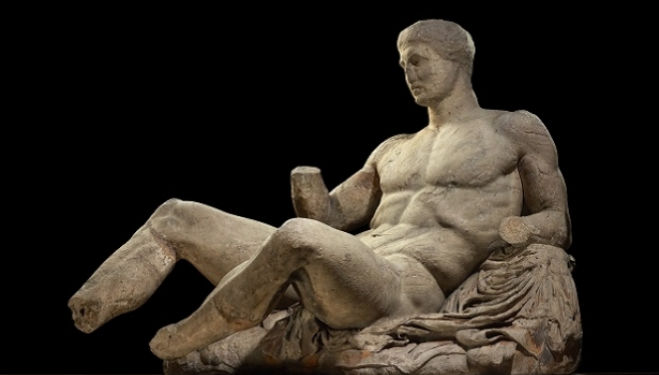 A figure of a naked man, possibly Dionysos. Marble statue from the East pediment of the Parthenon. Designed by Phidias, Athens, Greece, 438BC-432BC. © The Trustees of the British Museum