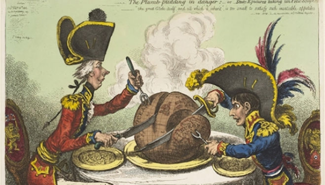 James Gillray (1765 - 1815), The plumb-pudding in danger: -or state epicures taking un petit souper. Hand-coloured etching, 1805