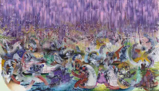 Ali Banisadr The Lesser Lights 2014 Oil on linen 208.3 x 304.8 cm / (82 x 120 in) Image courtesy of the artist and Blain|Southern. Photo: Jeffrey Sturges, 2014