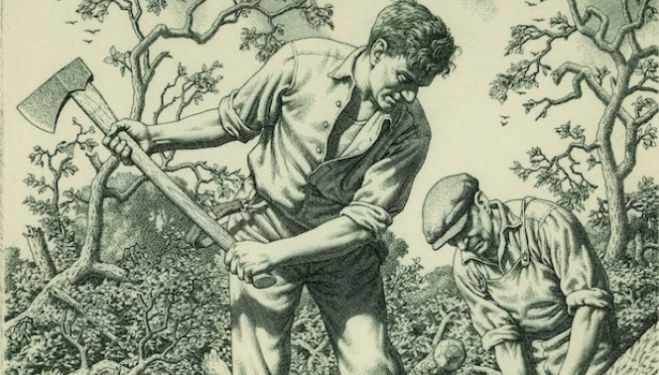 Tree Fellers, engraving, 1945. 190 x 153 mm. Private Collection © Stanley Anderson Estate