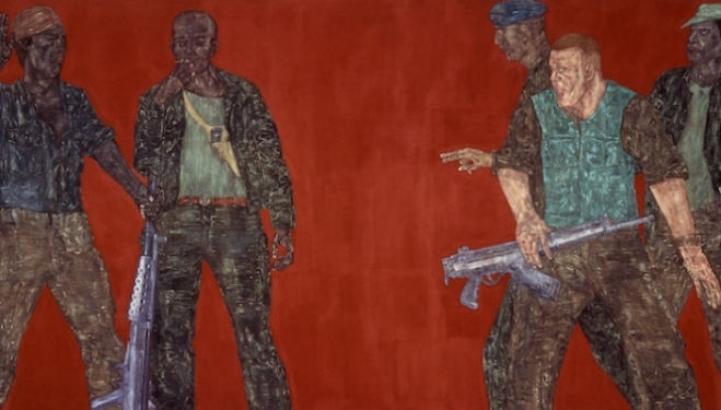 Mercenaries IV, 1980, Leon Golub, Acrylic on linen, Collection of Ulrich and Harriet Meyer