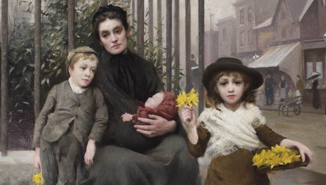 The Pinch of Poverty (detail) by Thomas Benjamin Kennington, oil on canvas, 1891 © Coram in the care of the Foundling Museum
