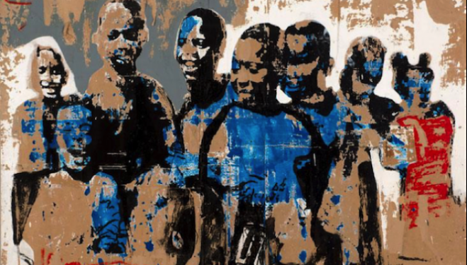 Armand Boua  Foule D'Enfants  2014  Tar and acrylic on board  190 x 247 cm  Image courtesy of the Saatchi Gallery, London
