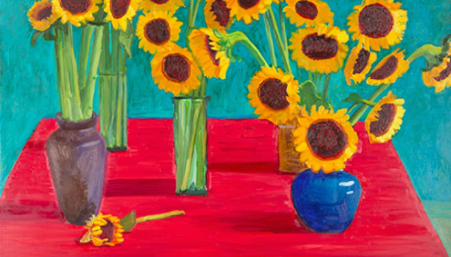 David Hockney, 30 Sunflowers (1996) Oil on canvas © David Hockney. Photo Credit: Richard Schmidt
