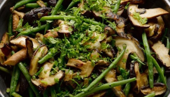 Ottolenghi french beans with shiitake mushrooms and nutmeg