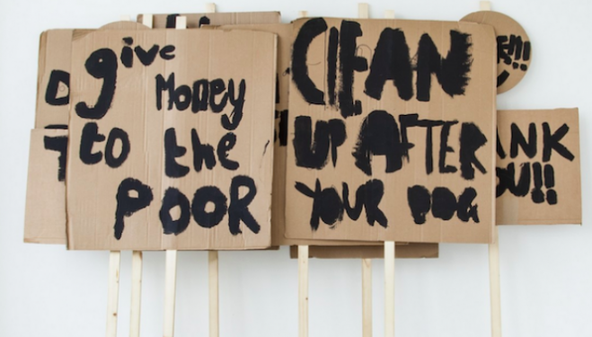Placards, Notes on Protesting  (2014), Peter Liversidge with Marion Richardson School, London (Classes 3H and 3B), Black emulsion, cardboard & wood