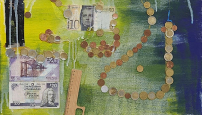 Geldbild I, 2014 Bills, coins, printed paper, adhesive tape, wood, acrylic on canvas 80 x 60 cm / 31 1/2 x 23 5/8 in