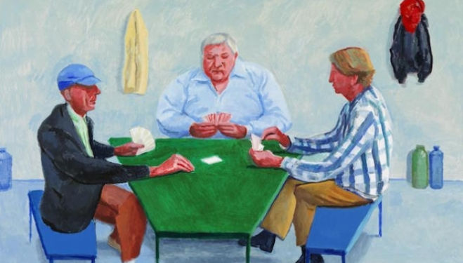 David Hockney Card Players #1 (2014), courtesy the artist and Annely Juda Fine Art