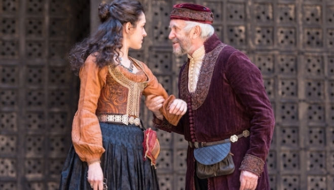 Phoebe Pryce (Jessica) and Jonathan Pryce (Shylock) in Jonathan Munby's production of Merchant of Venice - photo by Manuel Harlan.