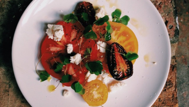 Heritage tomatoes from the Isle of Wight, wood sorrel, walnuts from Potash farm, foraged nettles and cow's curd