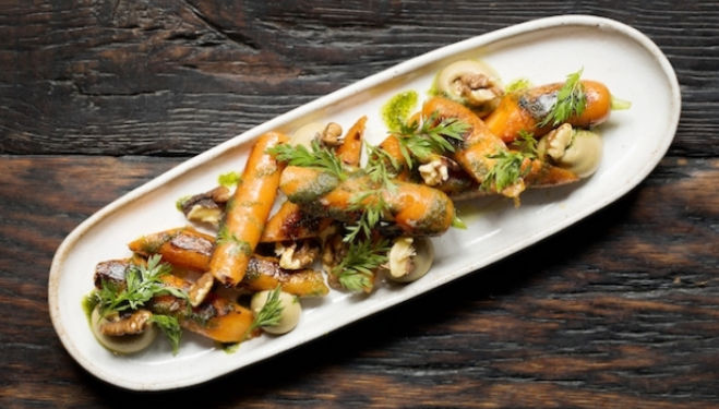 Chargrilled Carrots, Burnt Aubergine, Miso, Walnut Pesto