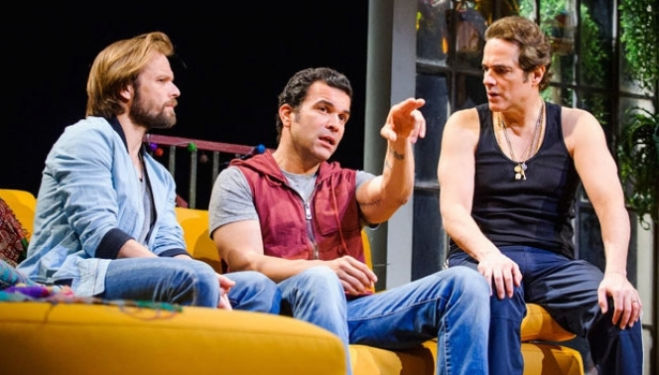 Alec Newman, Ricardo Chavira and Yul Vázquez: Motherf**ker with the Hat, National Theatre.  Photo by Tristram Kenton