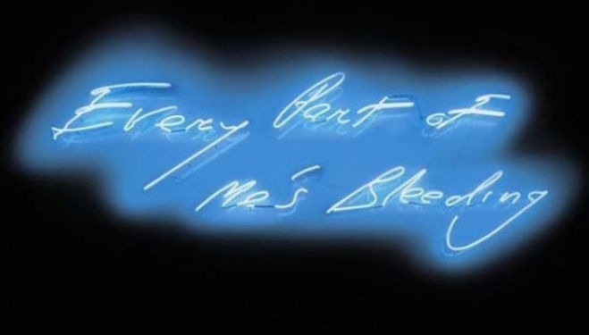 Tracey Emin artist, Every Part of Me's Bleeding (1999), courtesy of Christie's London and
