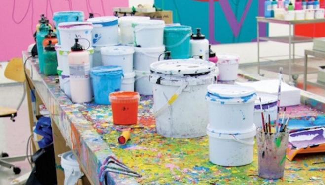 The studio of Michael Craig-Martin. Photo: Maryam Eisler, courtesy TransGlobe Publishing Ltd, Whitechapel Gallery London
