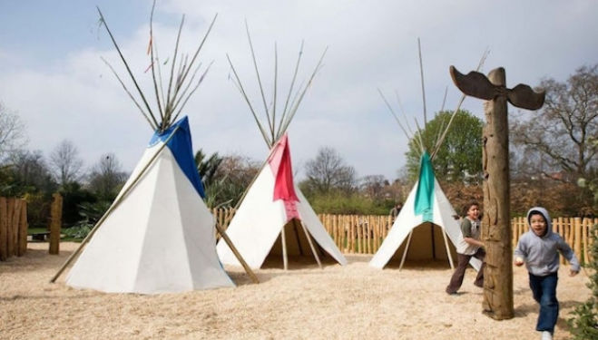 Wigwams for the Peter Pan theme for children at Diana Memorial Playground