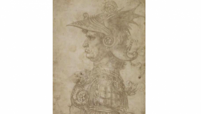 Leonardo da Vinci (1452–1519), Bust of a warrior. Silverpoint, on prepared paper, c. 1475-1480. © The Trustees of the British Museum London