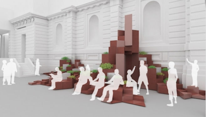 SO? Architecture and Ideas, Unexpected Hill installation at Royal Academy London Burlington Gardens
