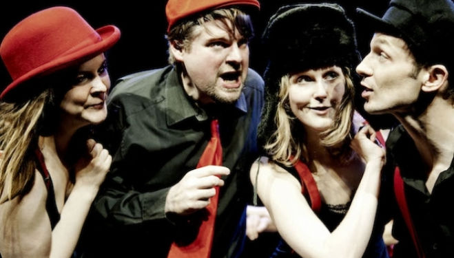 Showstopper The Improvised Musical cast: Ruth Bratt, Andrew Pugsley, Pippa Evans, Nigel Pilkington. Credit Idil Sukan