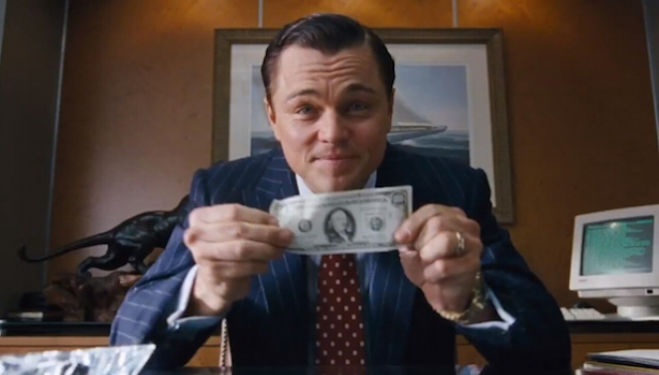 Leonardo DiCaprio in The Wolf of Wall Street, which will be shown as part of the Barbican's Colour of Money season