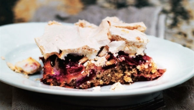 Scandinavian Baking Recipe: Meringue-topped Rhubarb Cake