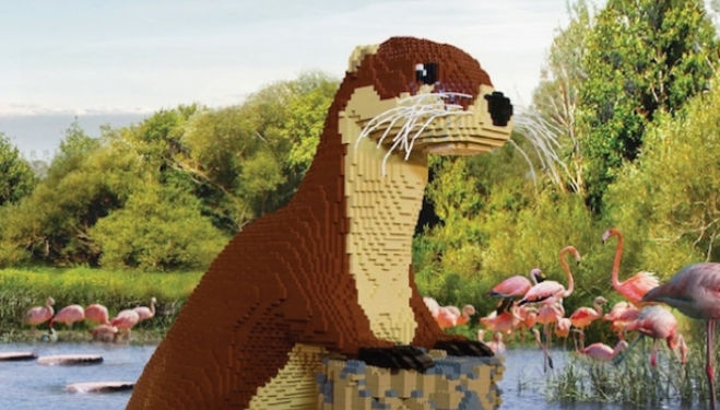 Giant Lego brick animals at the London Wetlands Centre