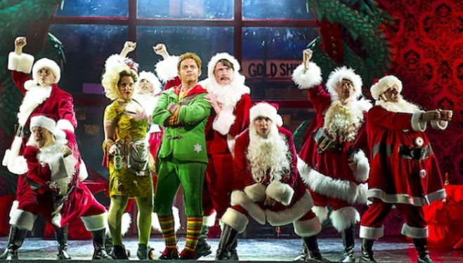 Ben Forster as Buddy (centre) and the cast in Elf credit Alastair Muir